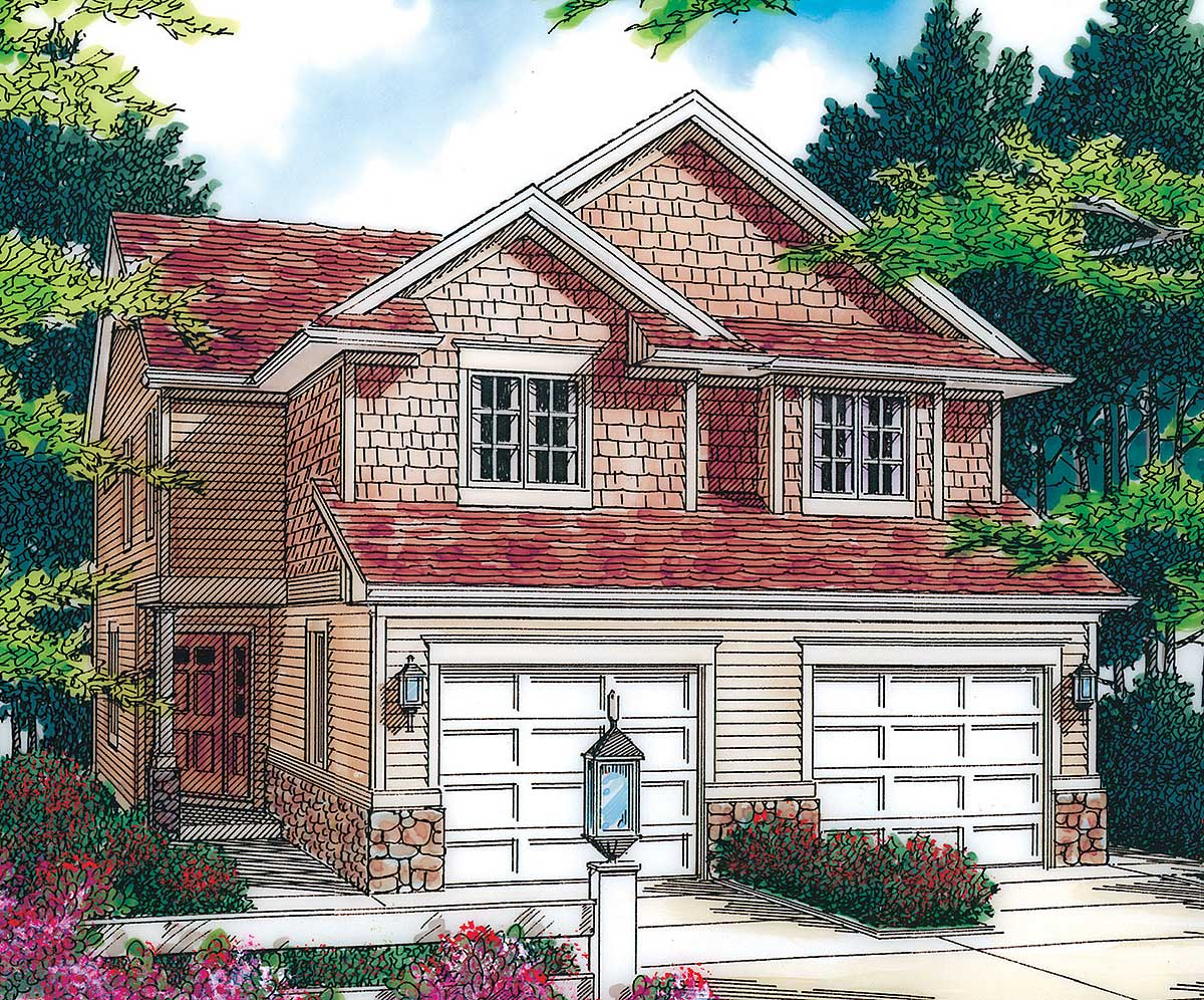 T shaped staircase in cottage duplex 69243am - T shaped house plans ...