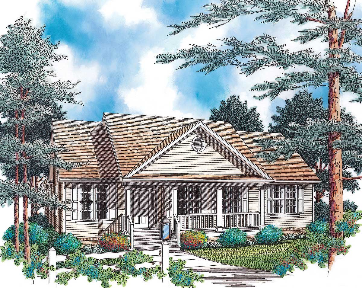 Country Home Plan With Large Porch 69260am