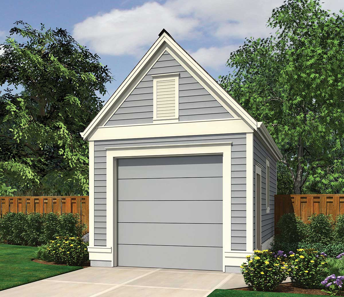 One-Car Garage With Lap Siding - 69471AM