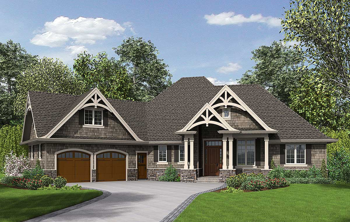 3 Bedroom Craftsman Home Plan - 69533AM | Architectural ...