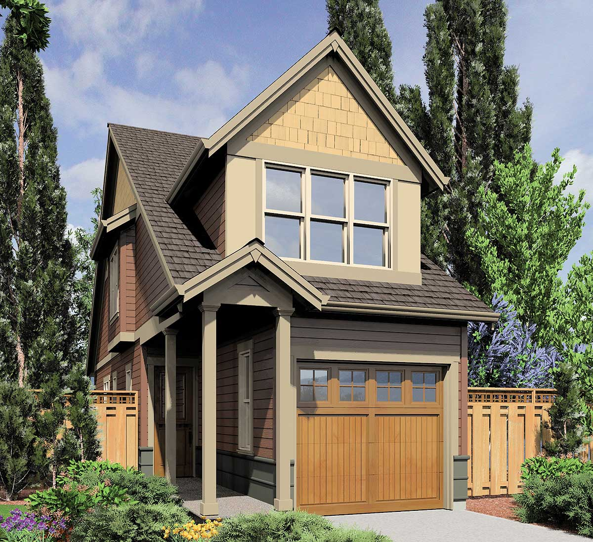 Architectural Designs Carriage House Plan 14631rk Gives: Sliver Of A Home Plan - 69574AM