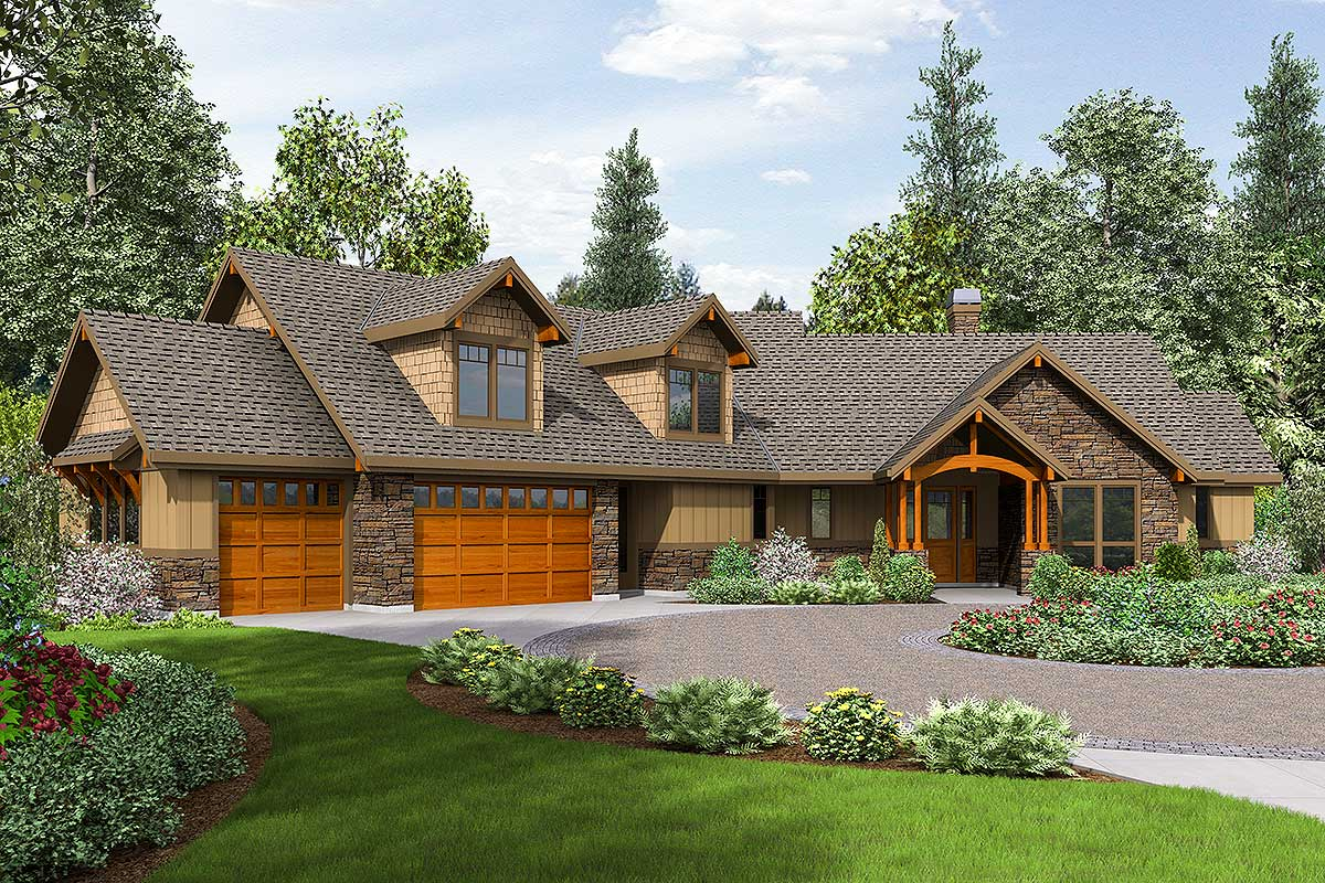 Lodge-like Craftsman With Huge Bonus Room - 69585AM ...