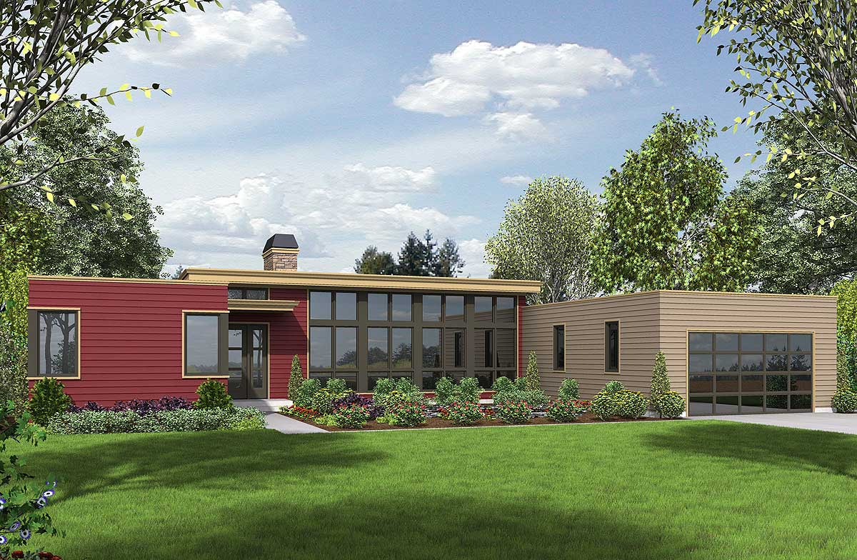 3 Bed Modern House Plan with Open Concept Layout - 69619AM ...