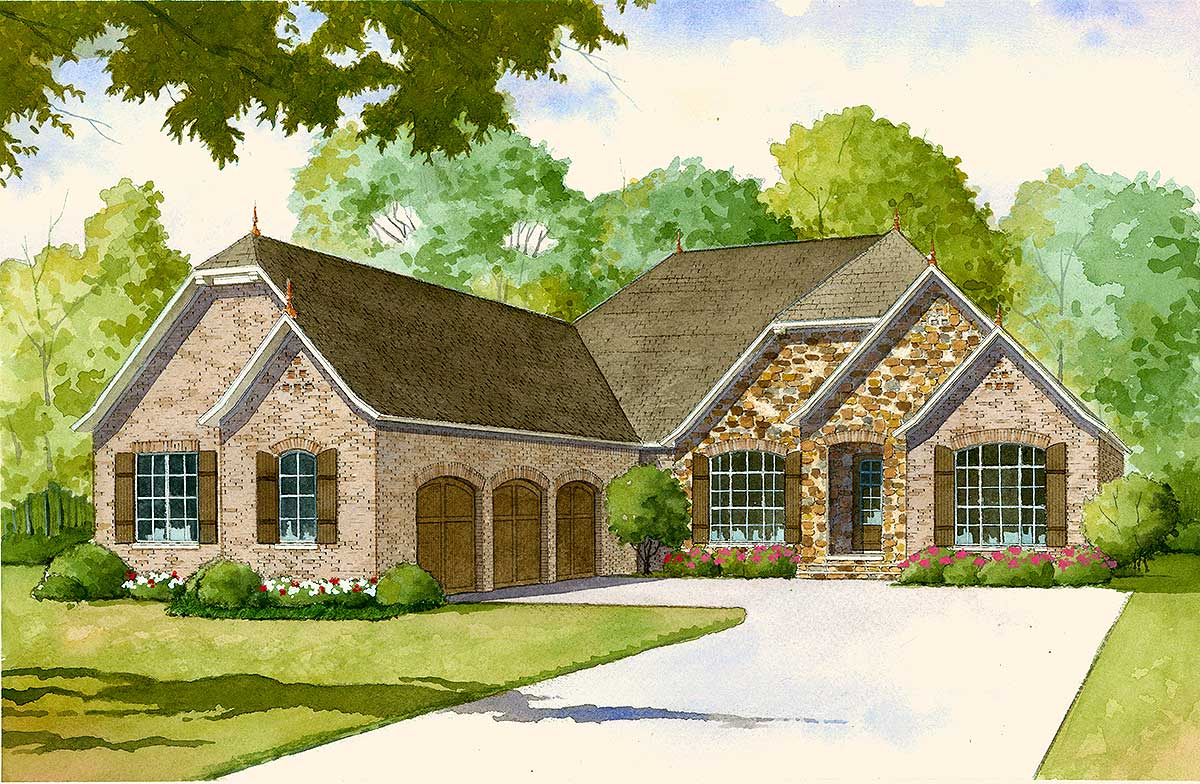 French Country House Plan with 2 Kitchens - 70502MK ...