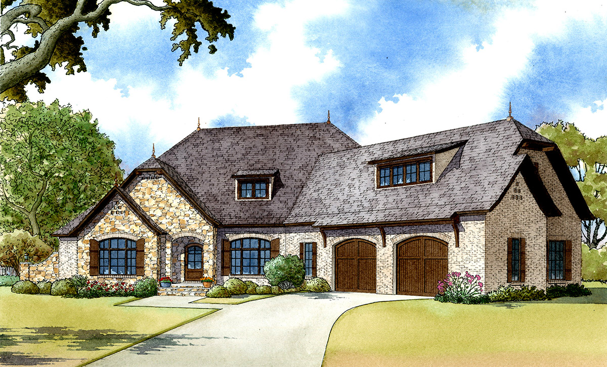 4 Bed French Country with Bonus Over Garage  70515MK