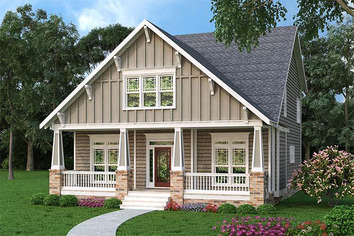 Comfortable Craftsman Bungalow - 75515GB | Architectural ...