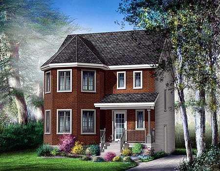 Narrow Lot 2 Story Victorian House Plan - 80757PM ...