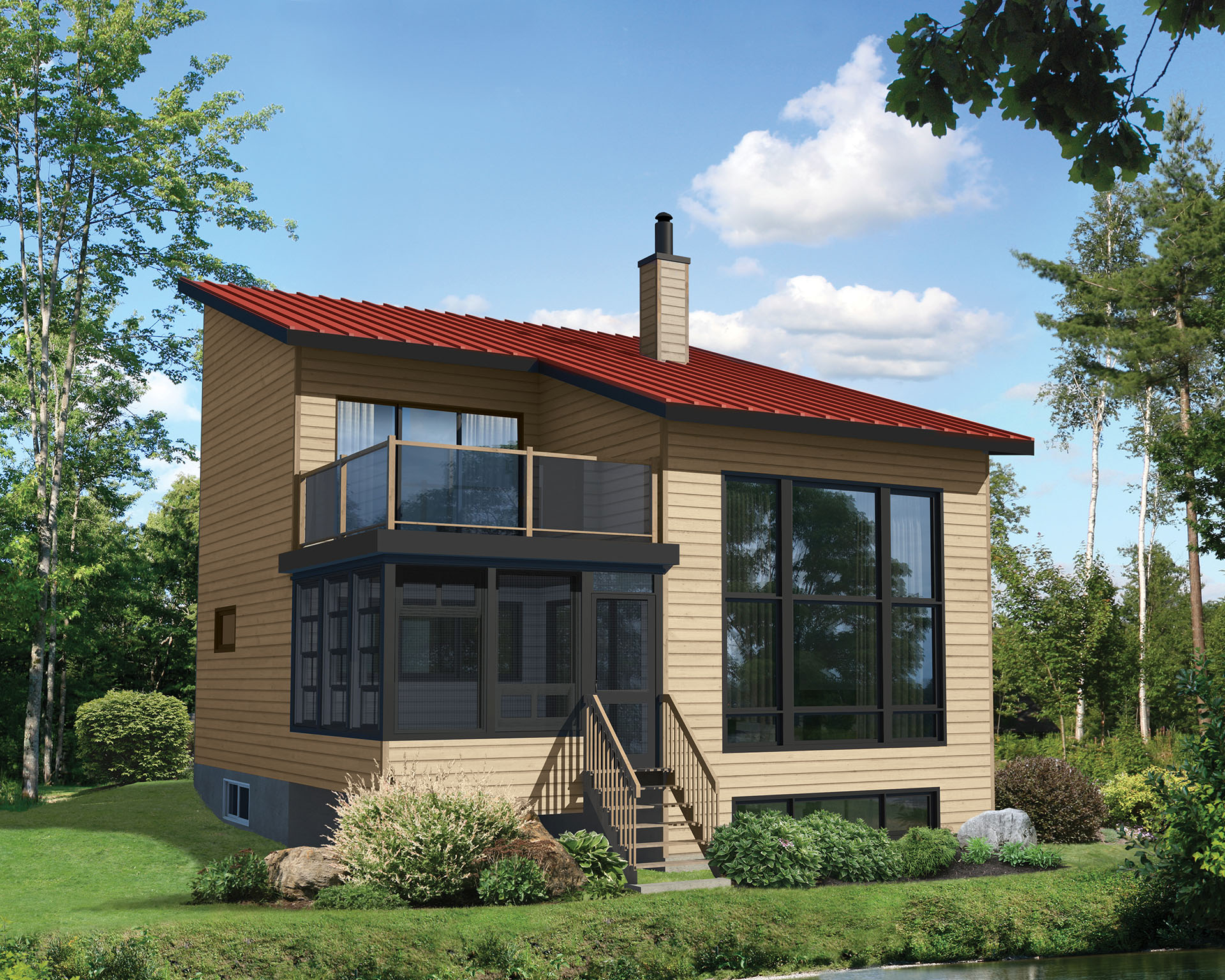Contemporary Plan with Second Floor Deck - 80773PM ...