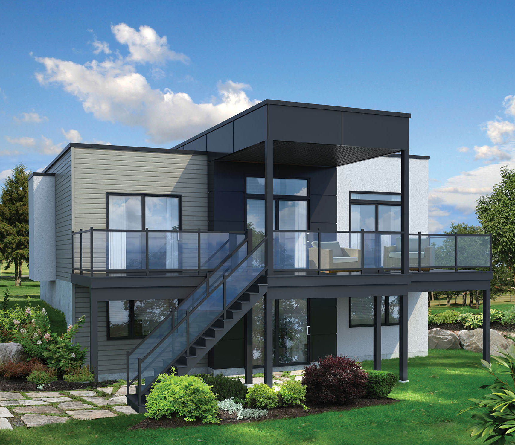 2 Bed Modern House Plan for Sloping Lot - 80780PM ...