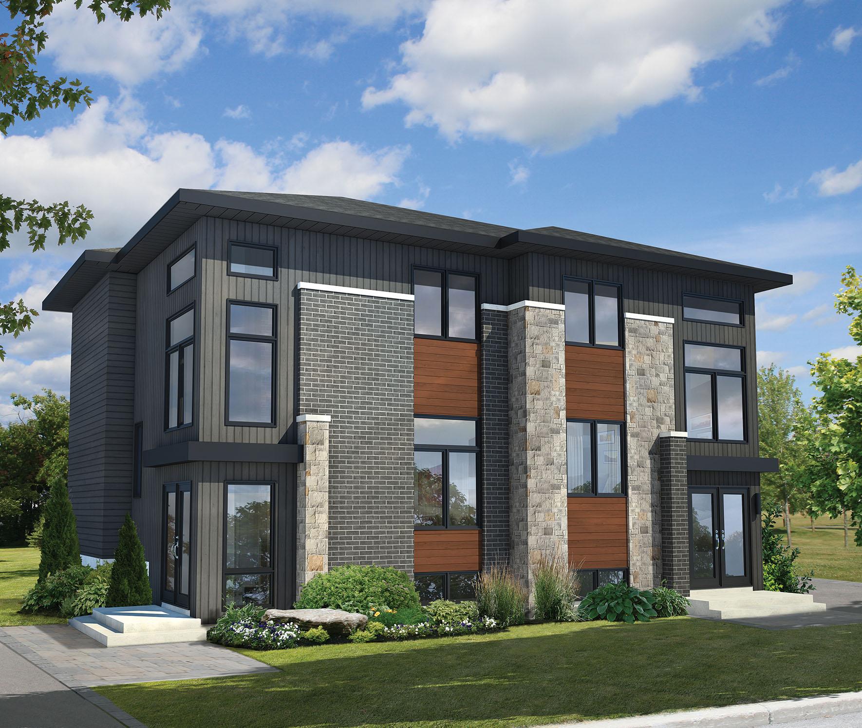 New House Design Plans: Multi-Family Modern - 80781PM