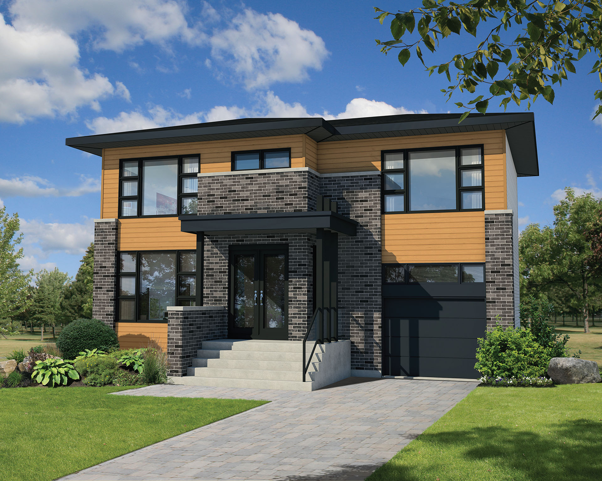 Narrow Lot Contemporary House Plan - 80807PM ...