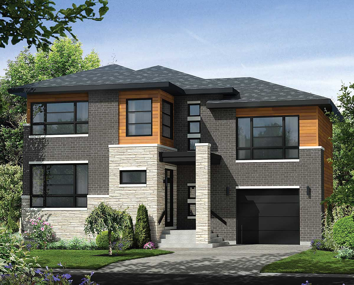 Multi-Level Contemporary House Plan - 80846PM ...