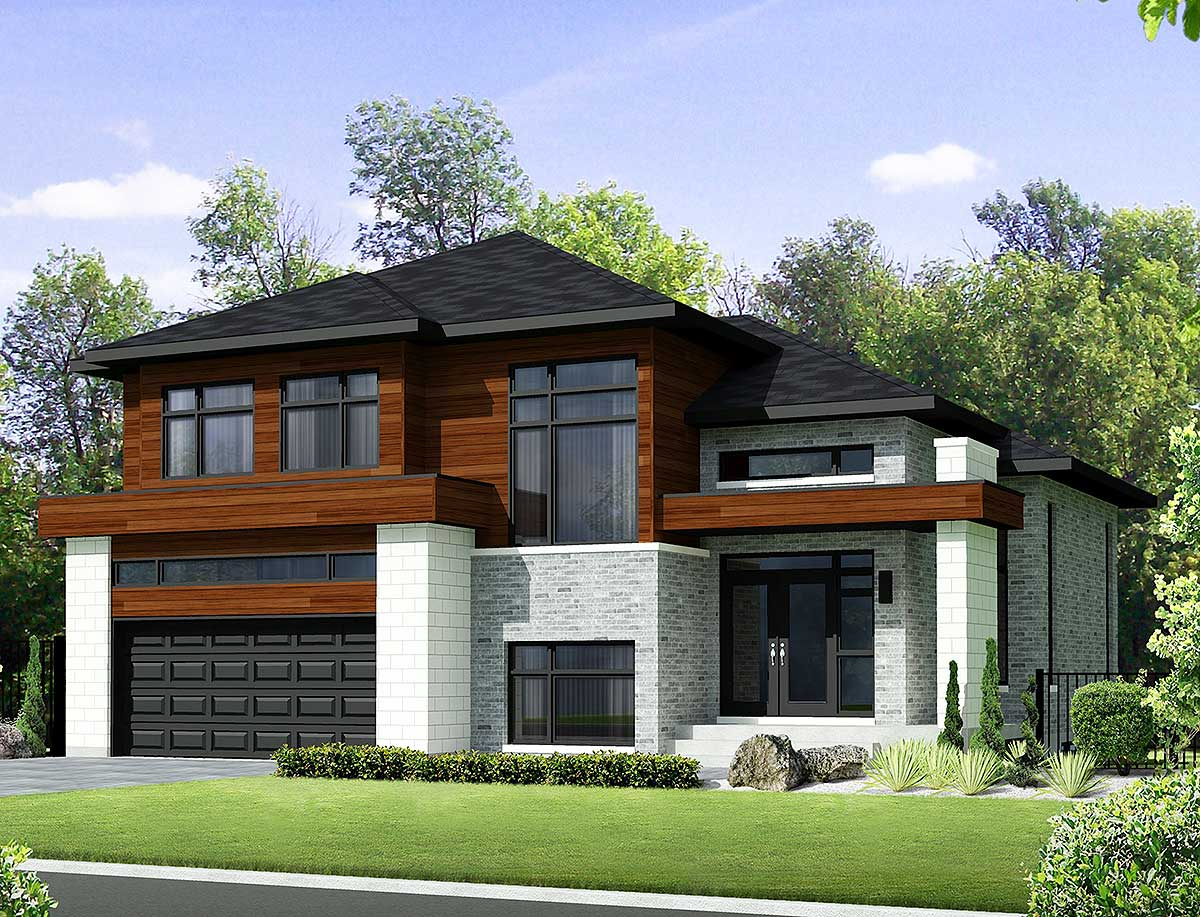 Two-Story Contemporary House Plan - 80851PM ...