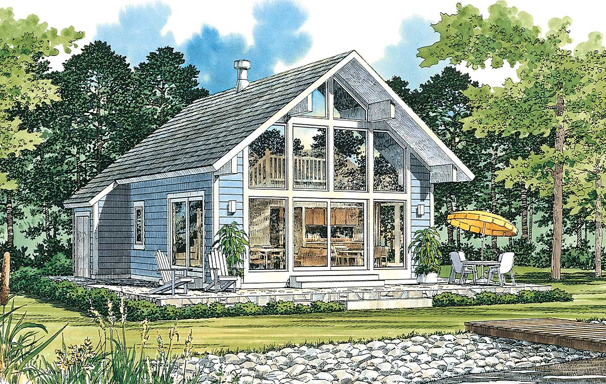 Tiny Home Designs: Chalet-Style Vacation Home Plan - 81323W