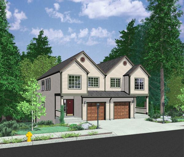 House Plans Duplex Plans Row Home: Open Floor Plan Duplex - 8157LB