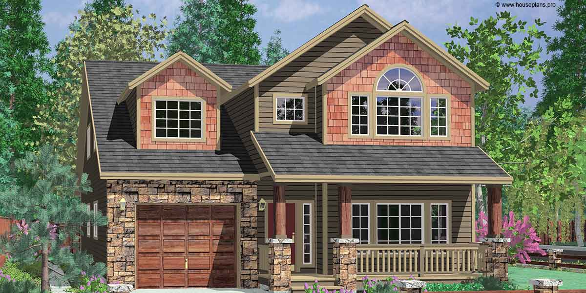 Tandem Garage House Plans: Vaulted Master & Tandem Garage - 8176LB