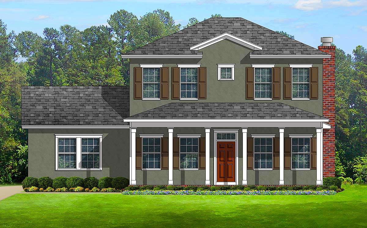 Colonial With Front And Back Porches