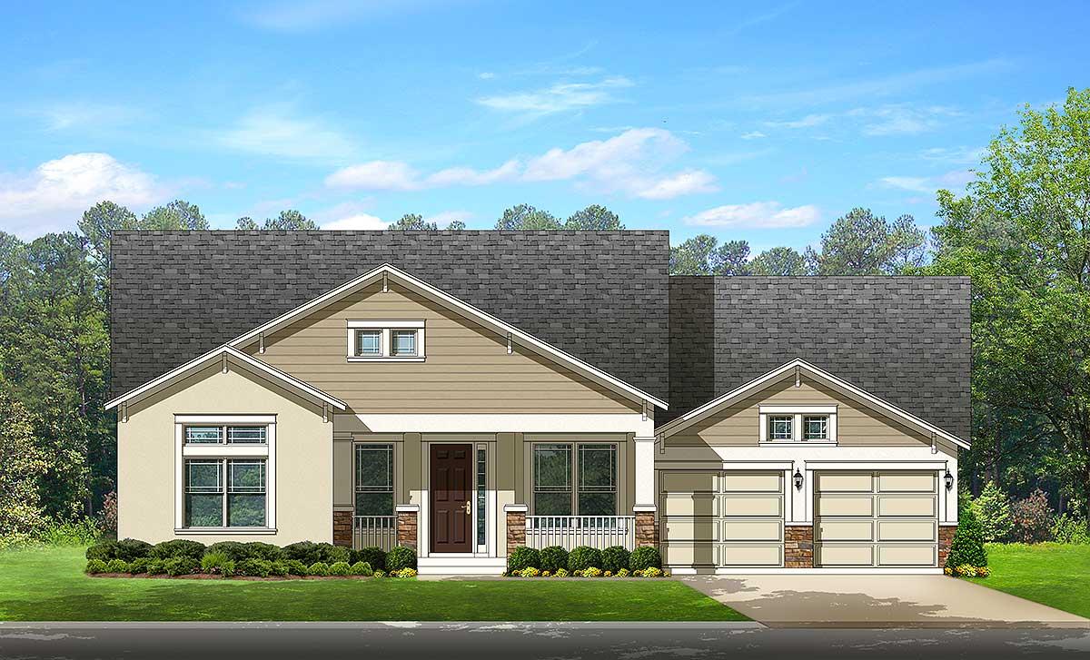 Open Floor Plan Traditional House 82143ka