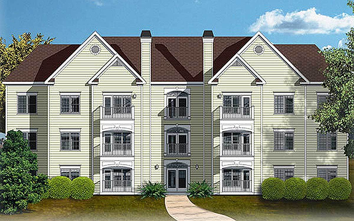 12 Unit Apartment Building Plan - 83120DC | Architectural Designs ...