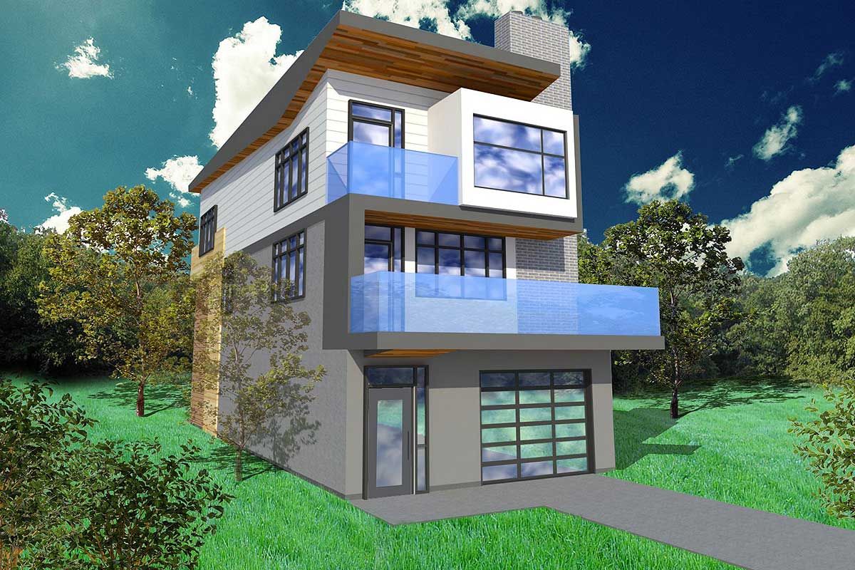 Narrow Lot Contemporary Home Plan Architectural Designs House Plans