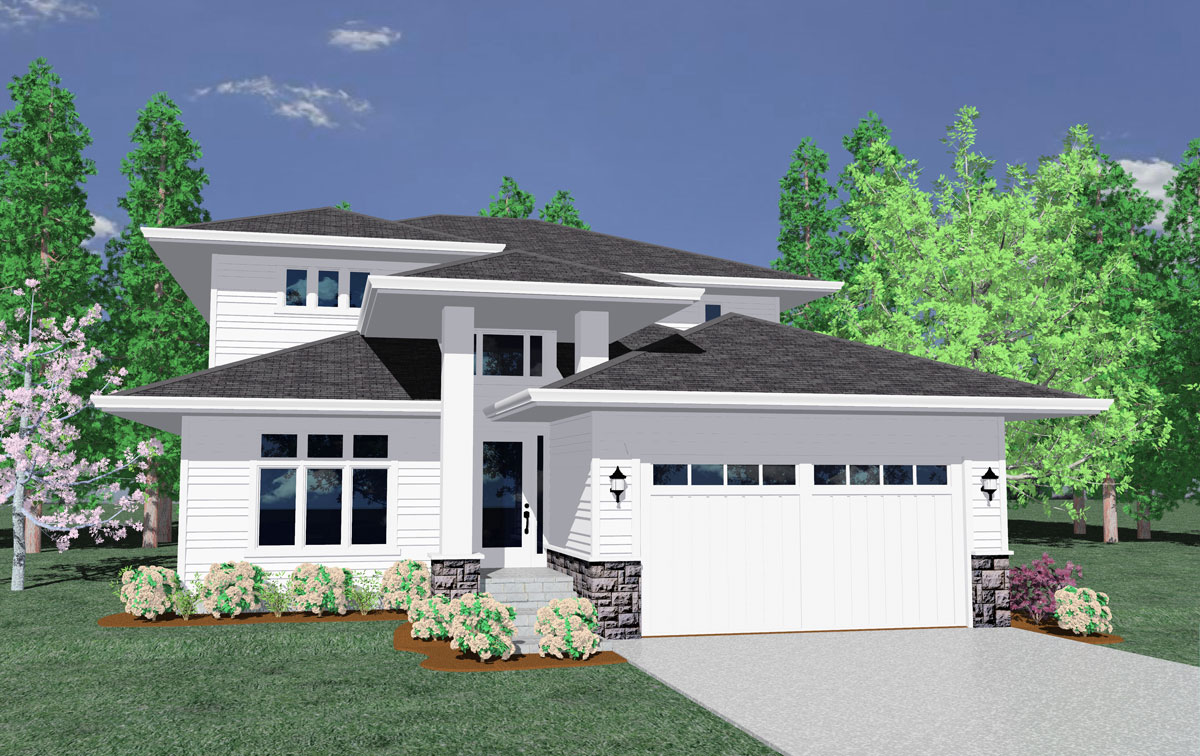 Narrow Lot Contemporary Home Plan - 85024MS ...