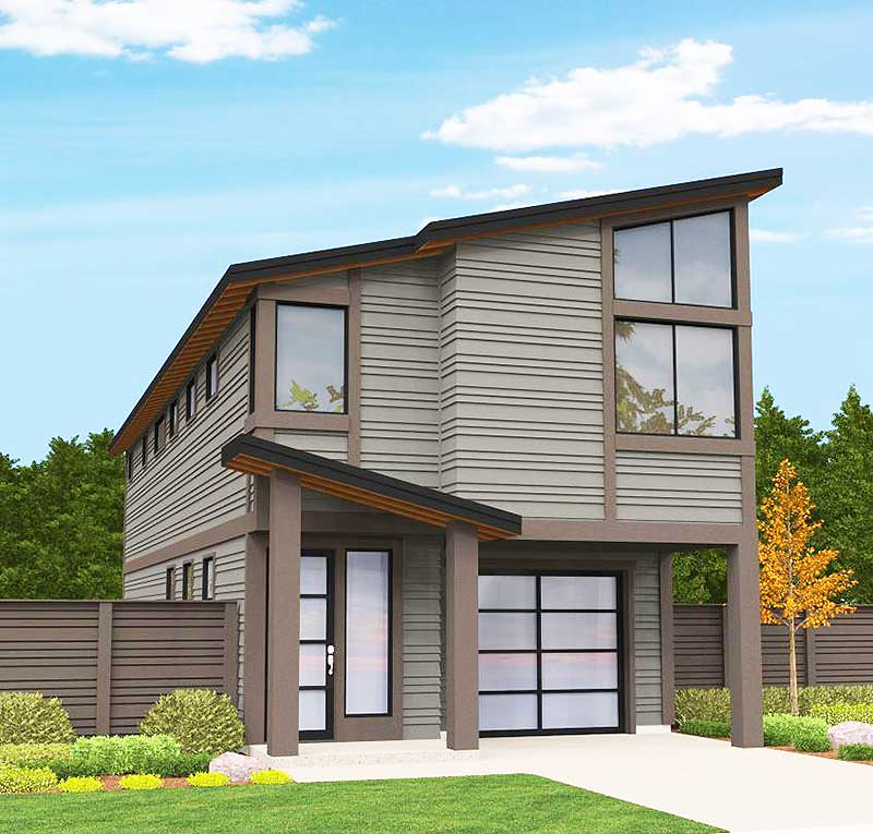 Modern Narrow Lot House Plan - 85101MS | Architectural ...