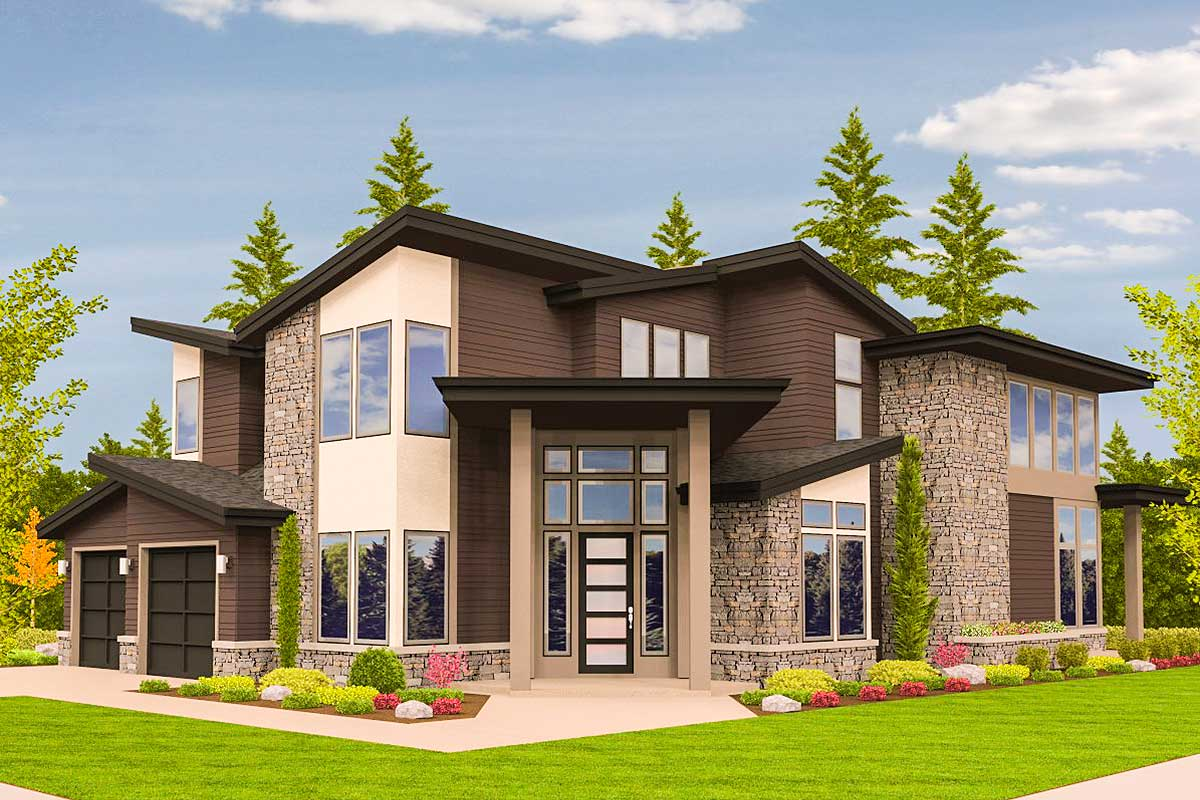 Angled Entry 5 Bed Modern House Plan - 85123MS ...