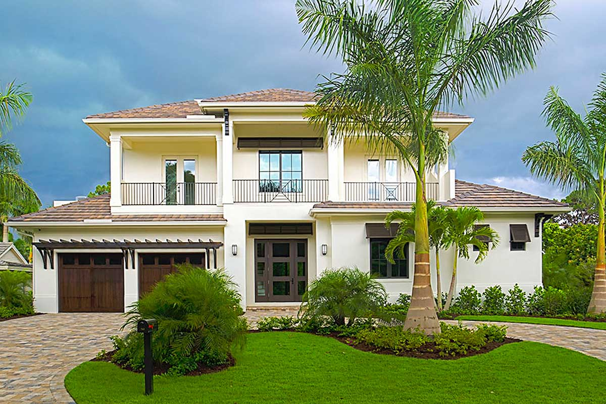 Florida House Plan With Big Upper Balconies