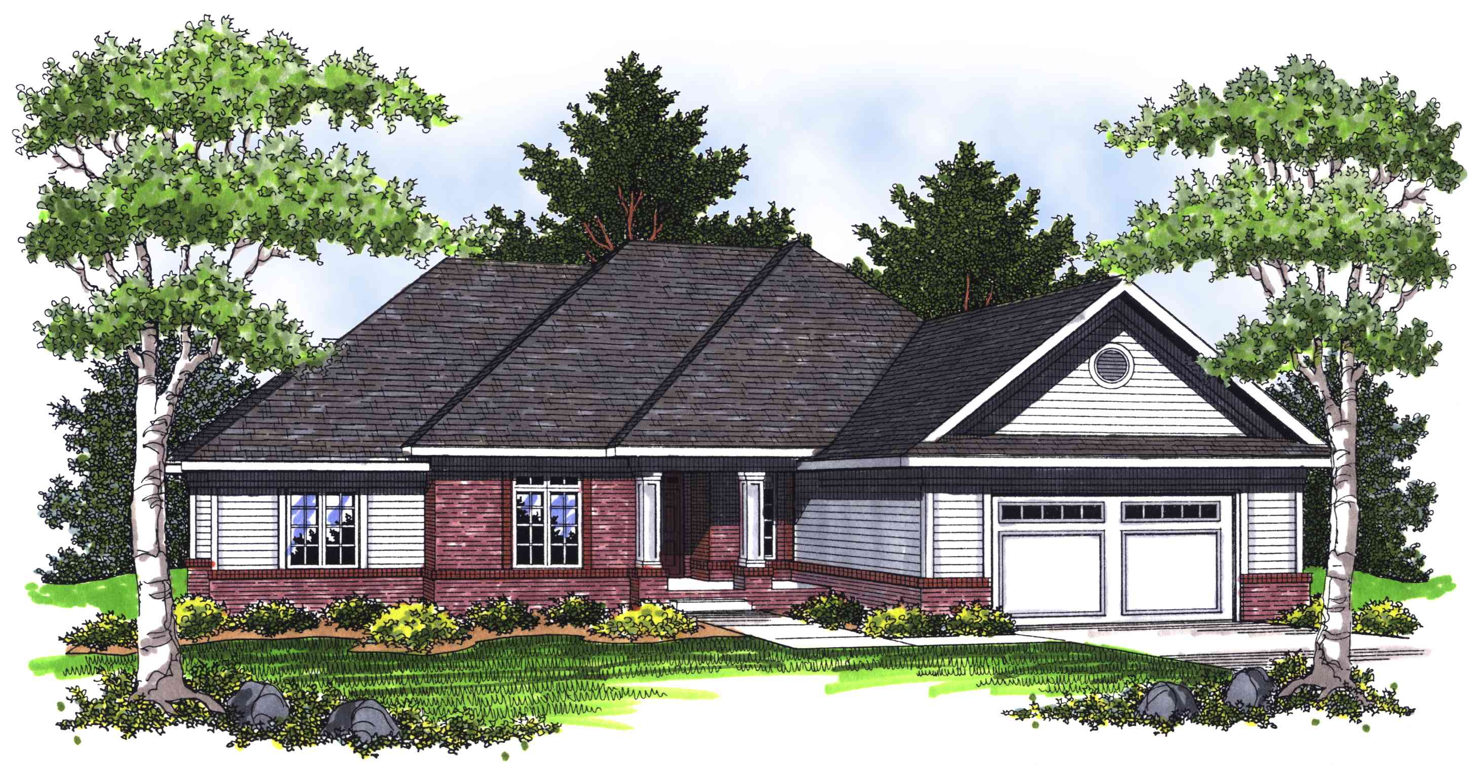 Plan 89231AH: Ranch Home with Hip Roof on small house plans hip roof, rambler style house plans, two hip roof,