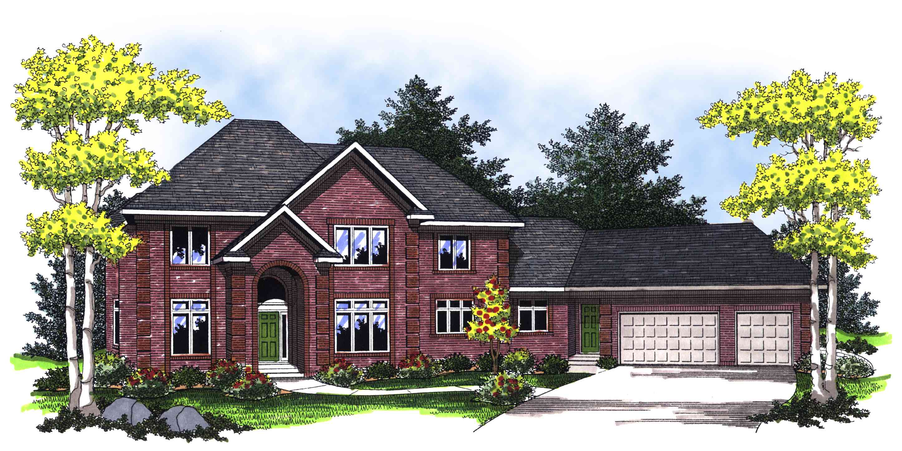 Traditional Two Story With Brick Facade