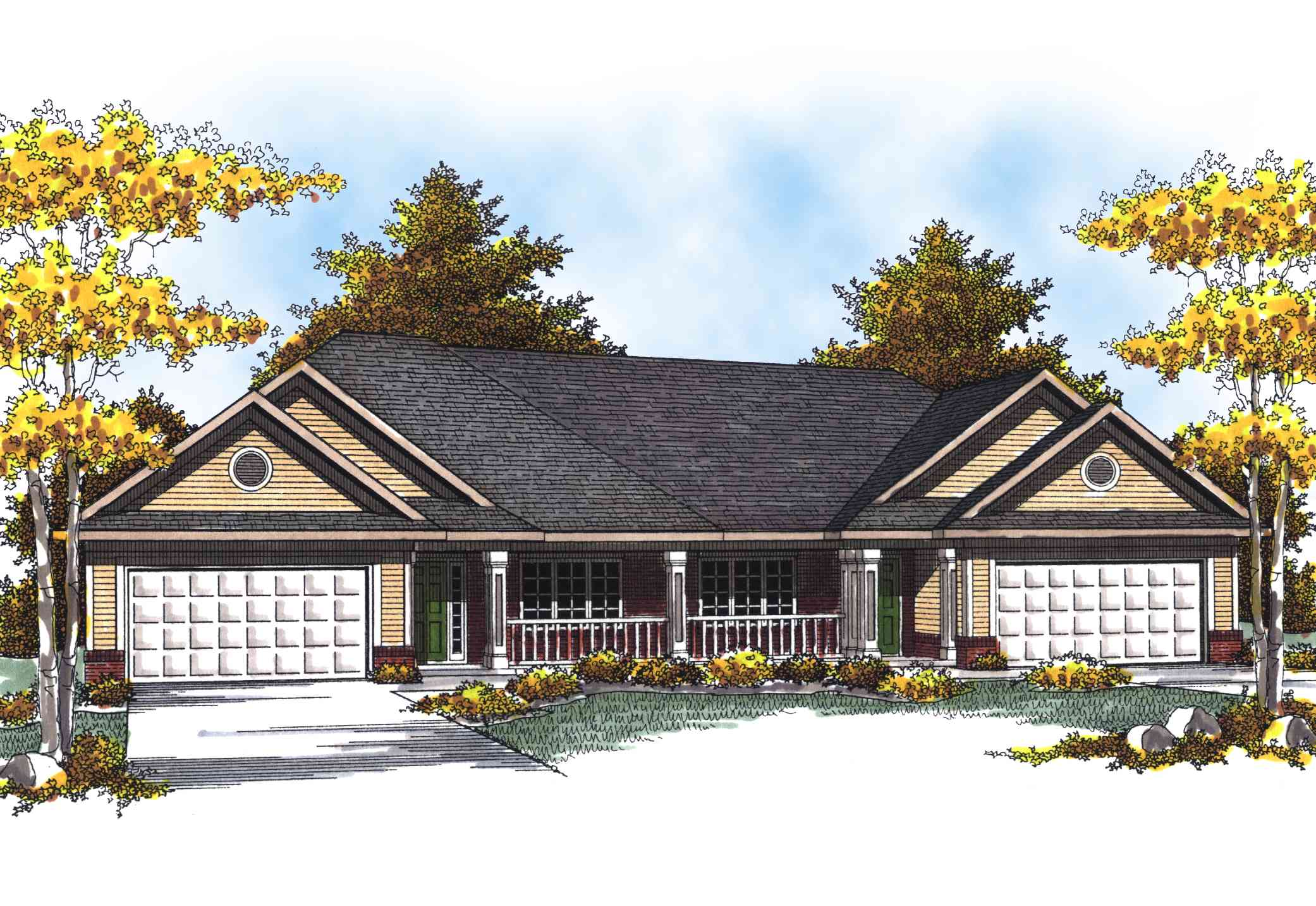 Traditional Ranch Duplex Home Plan - 89293AH ...