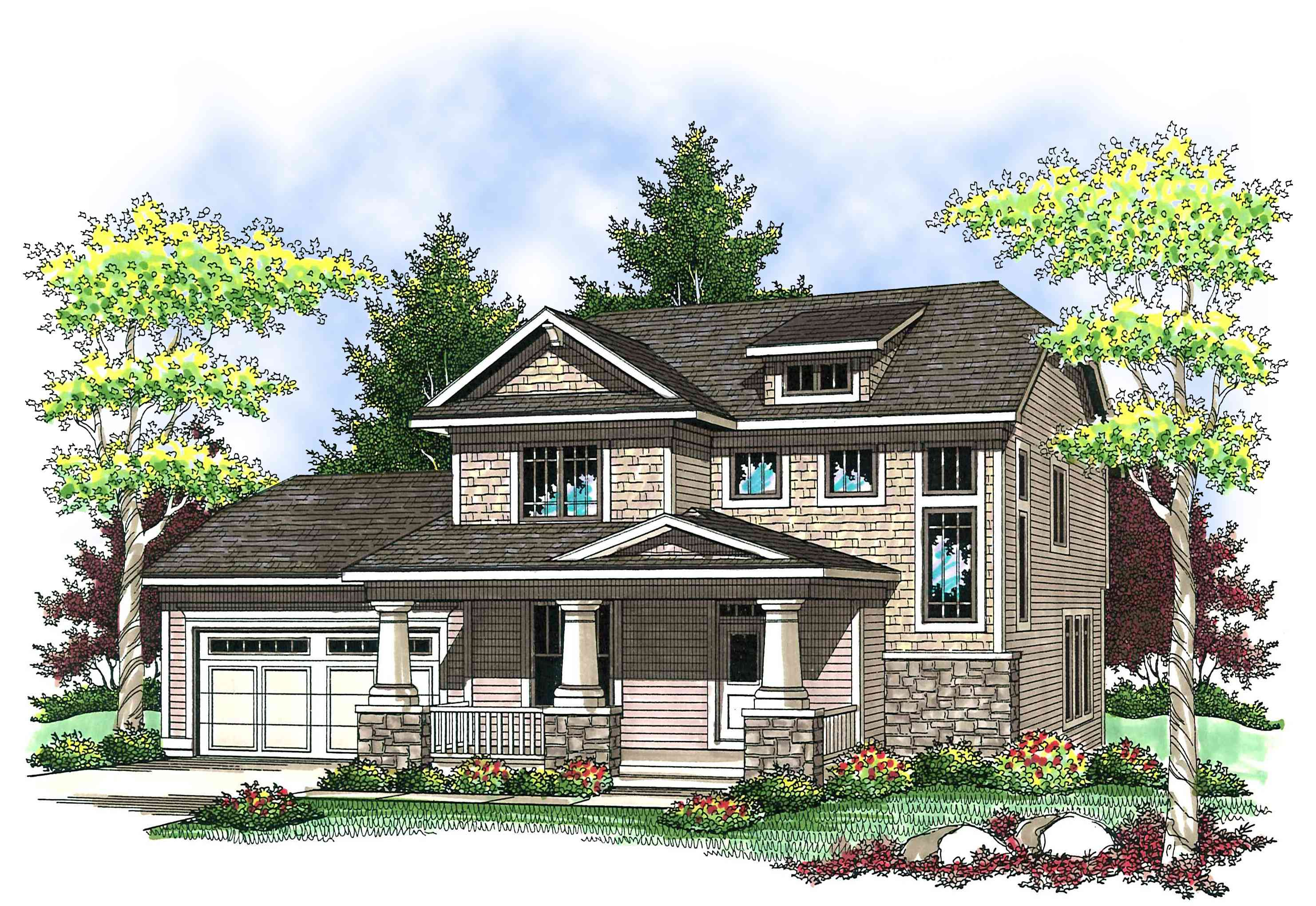 Two-Story Craftsman with Front Porch - 89659AH ...