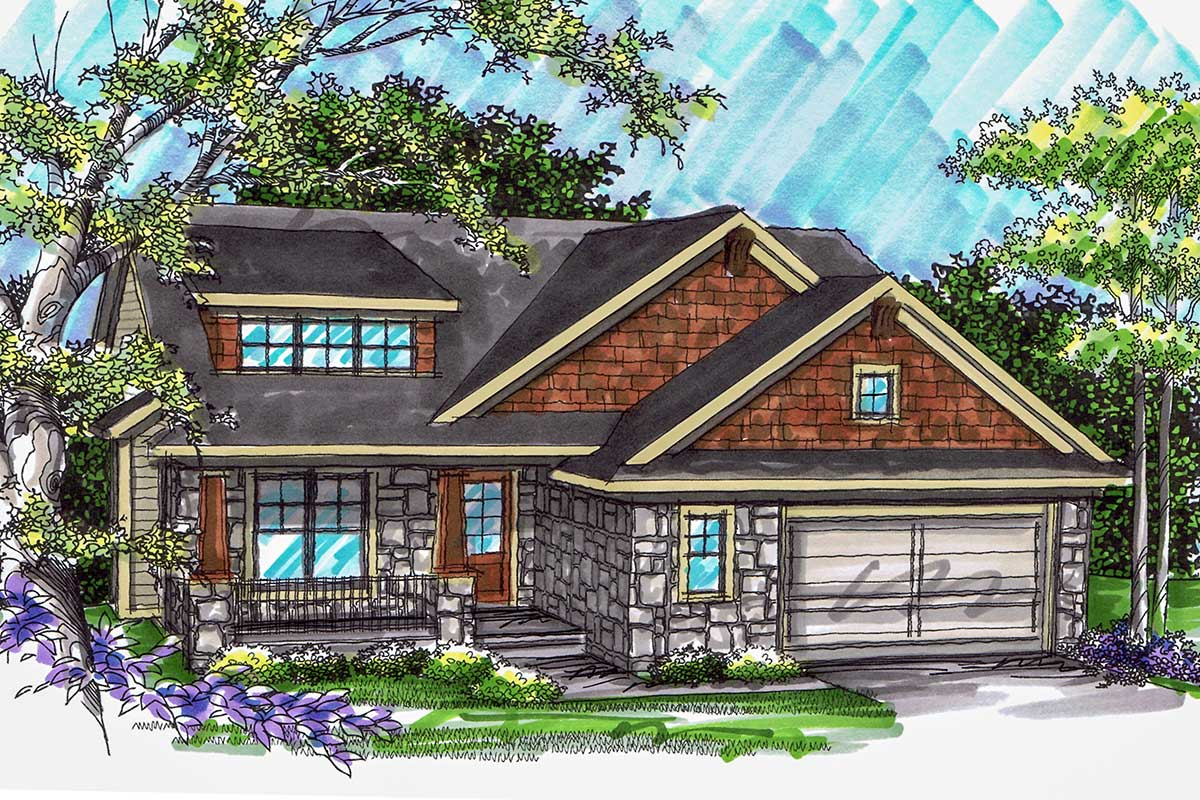 Split Level Craftsman Home Plan - 89784AH | Architectural ...