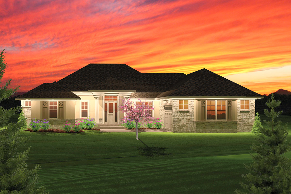 2 Bedroom Hip Roof Ranch Home Plan - 89825AH ...