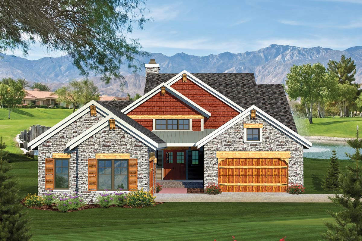 2 Bedroom Rustic Ranch Home Plan - 89826AH | Architectural ...