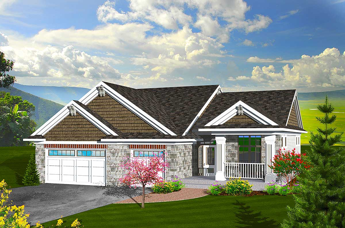 Craftsman ranch home plan 89846ah architectural - What is a ranch house ...