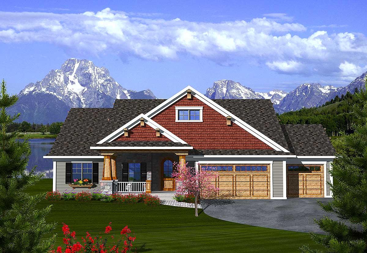 2 Bedroom Craftsman Ranch - 89862AH   Architectural ...