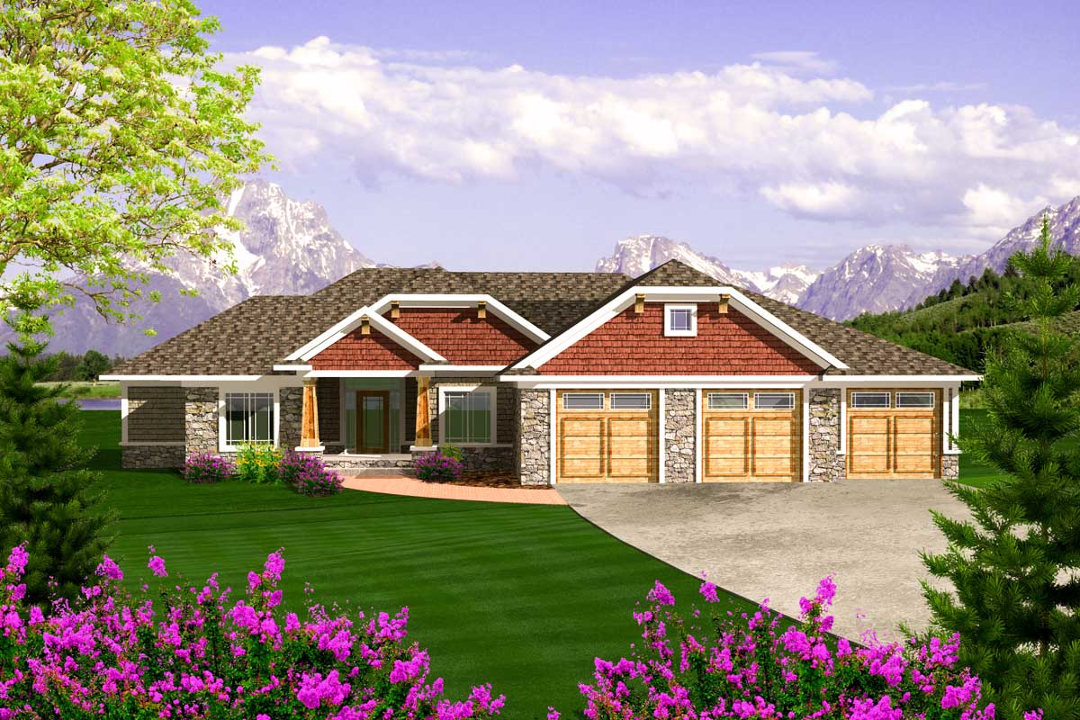 Craftsman Ranch With 3 Car Garage 89868ah Architectural Designs House Plans