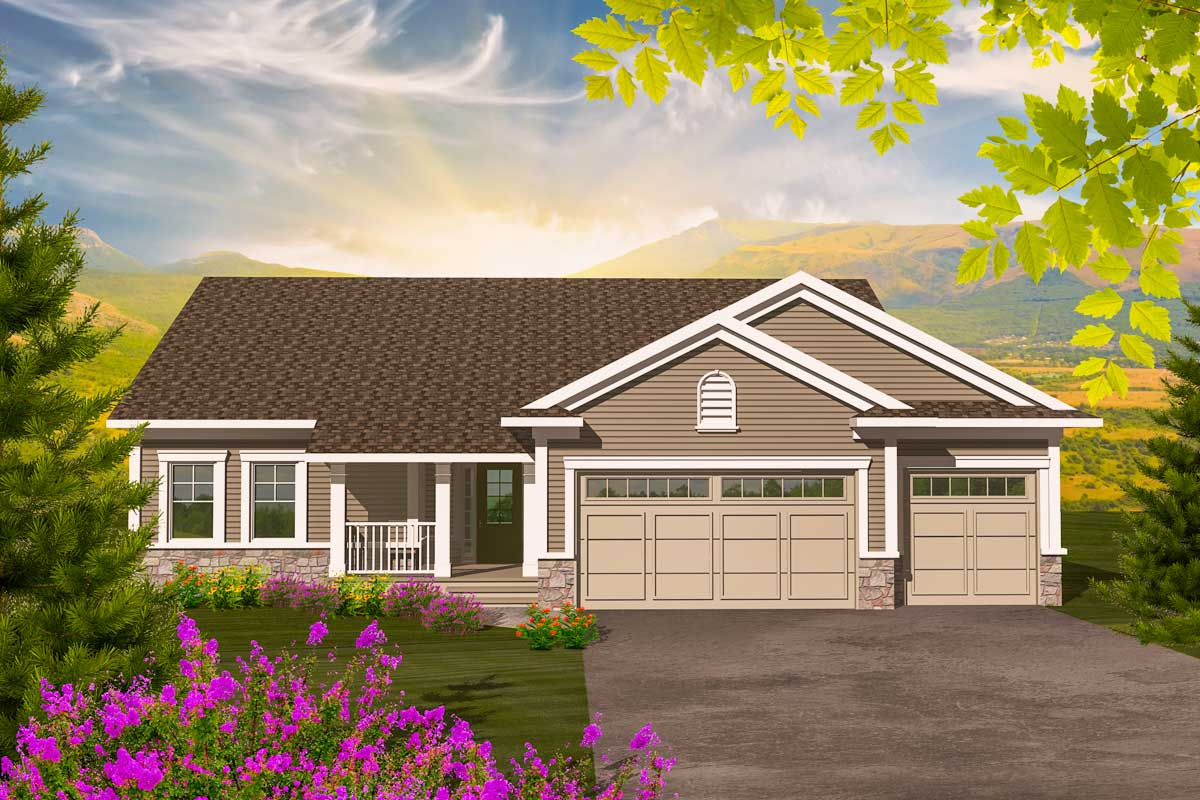House Plan Small Home Design: Affordable 3 Bedroom Ranch - 89881AH