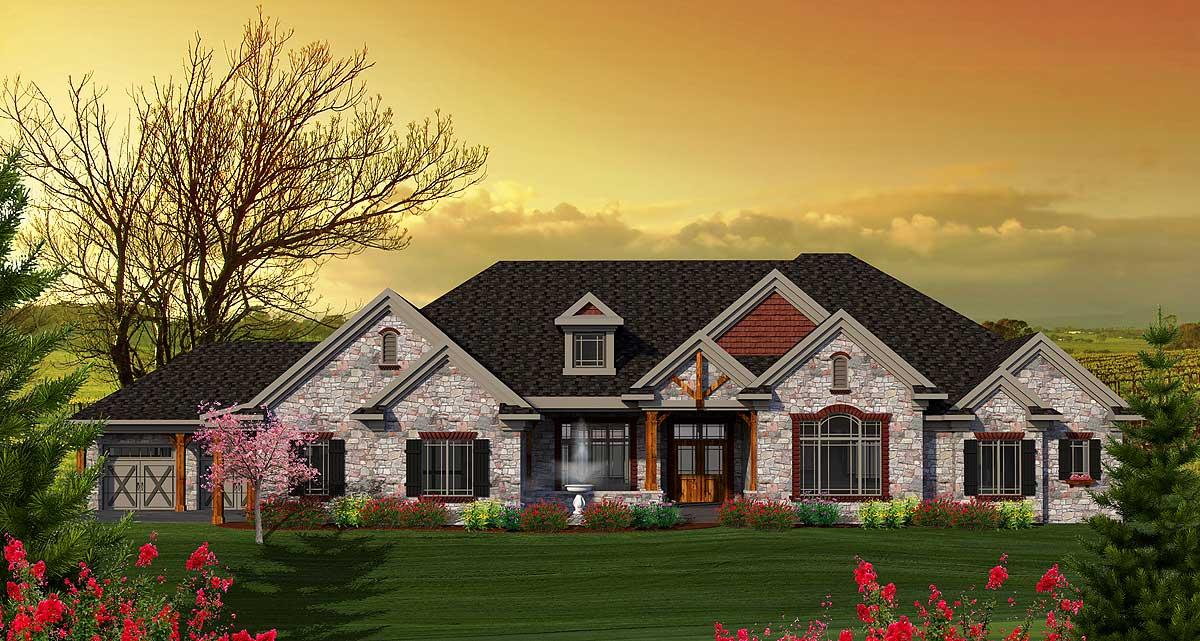 One Level Craftsman Home Plan - 89896AH
