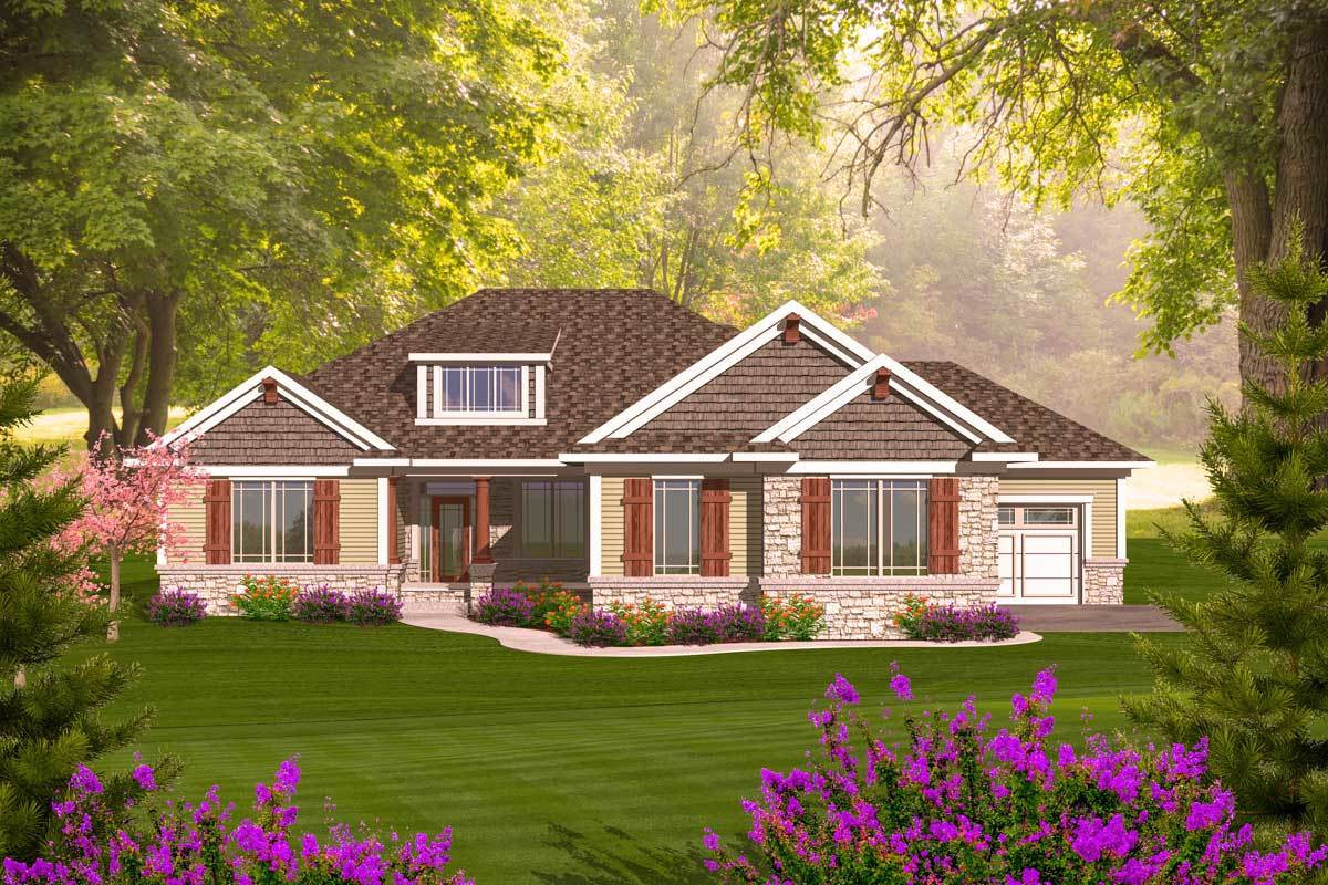 Craftsman Ranch With Walkout Basement 89899ah Architectural Designs House Plans