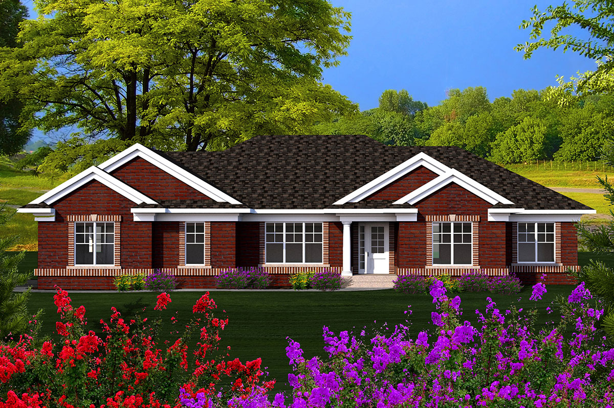 3 bed brick ranch with side load garage 89911ah architectural designs house plans