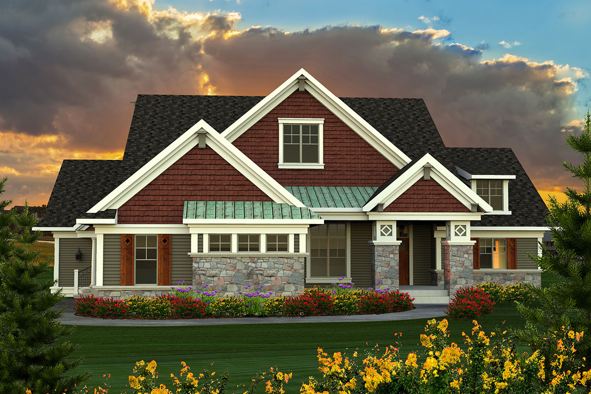 Ranch Plan With Large Great Room - 89918AH