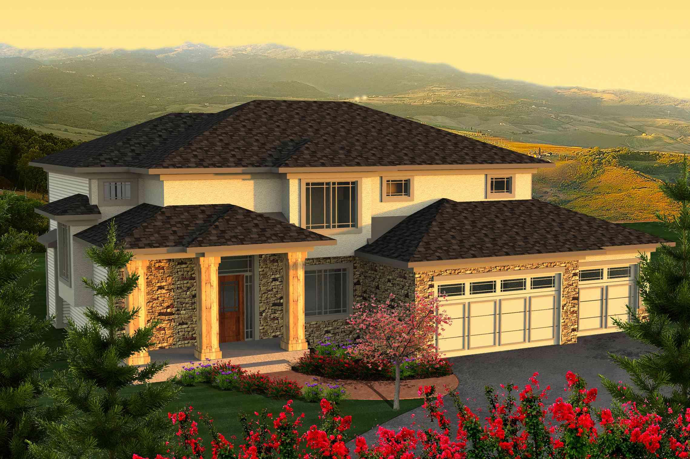 2-Story Prairie House Plan - 89924AH | Architectural ...
