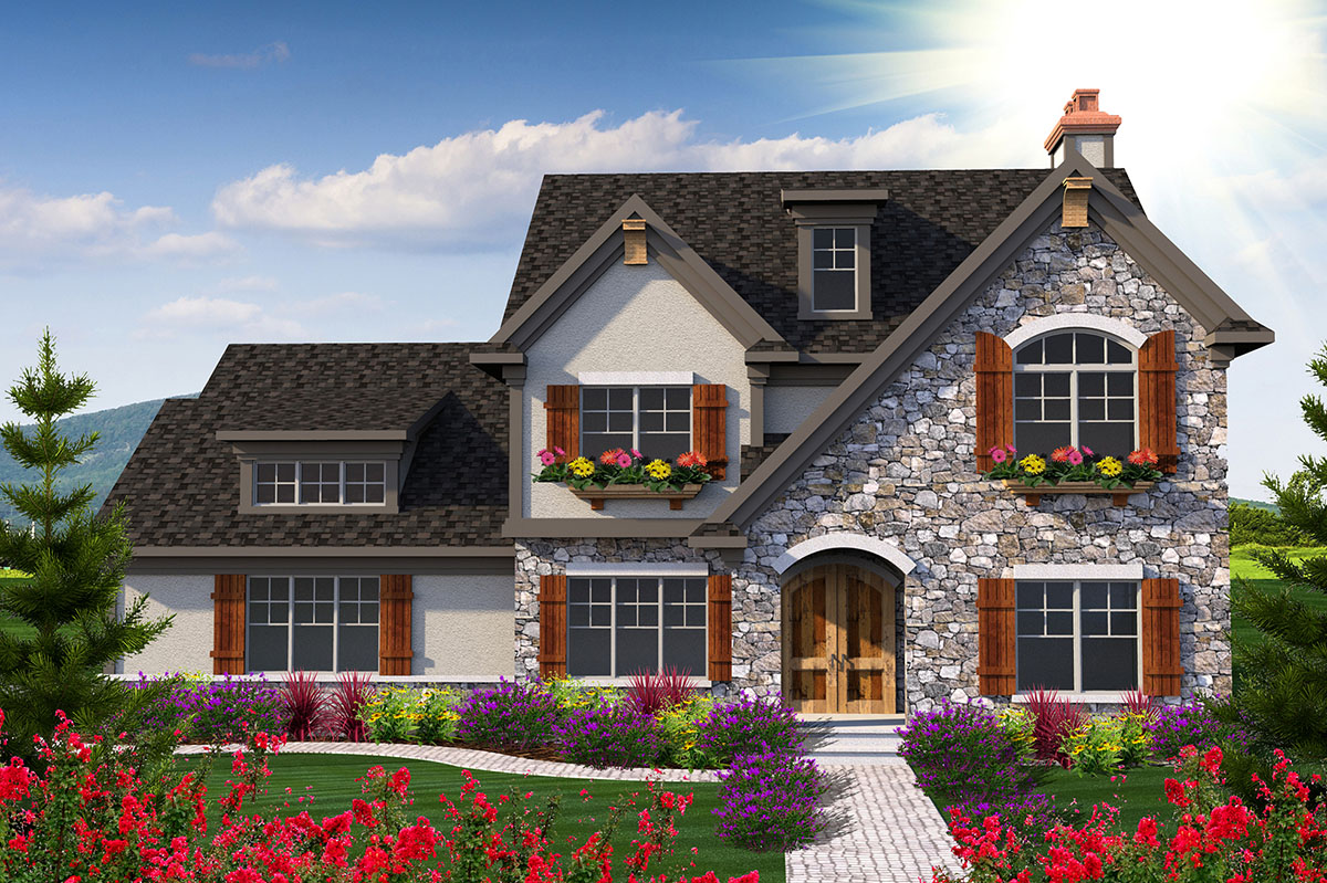 European Style Home with Video - 89927AH | Architectural ...