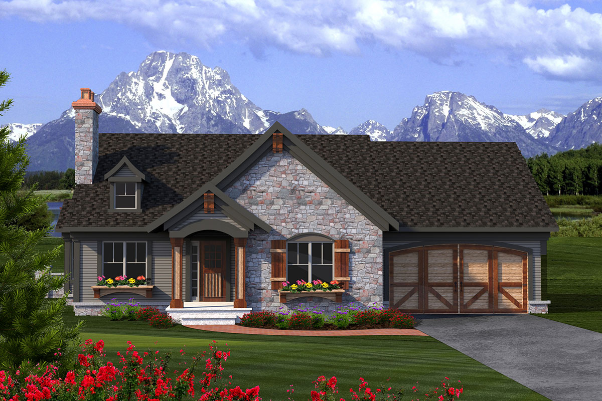 2 Bed Rustic Ranch with Stone Exterior - 89933AH ...
