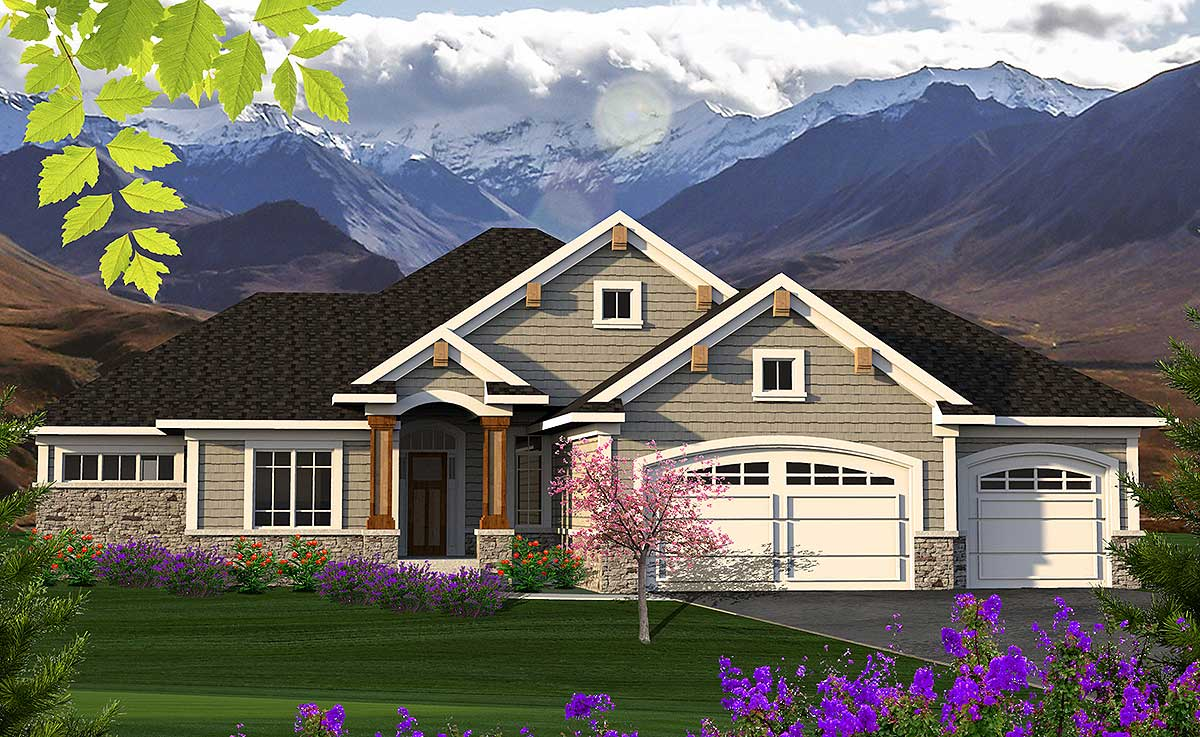 Home Design Plans: 2 Bed Ranch With Craftsman Accents