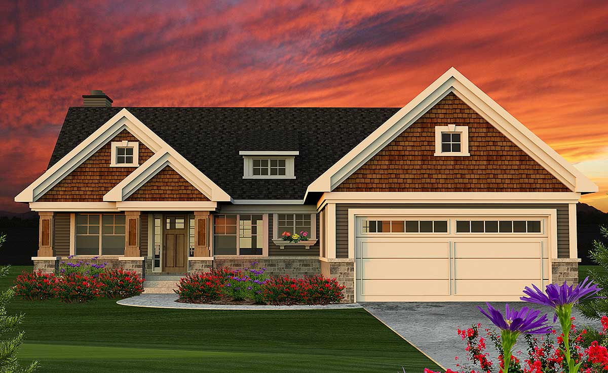 Plan 89954AH: 2 Bed Craftsman Ranch Home Plan on ranch home plans with 2 master suites, ranch home plans with attached garage, ranch home plans with front porches, ranch home plans with walkout basement, ranch home plans with split bedrooms, ranch home plans with open floor plans,