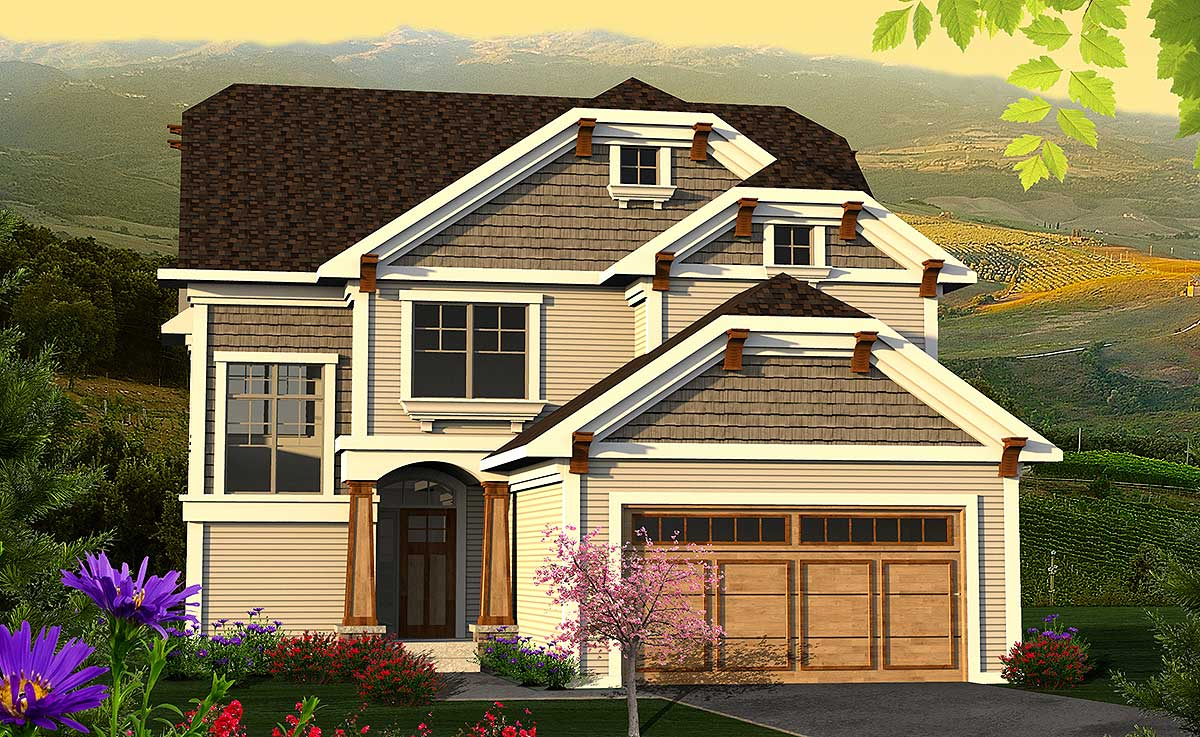 Clipped Gable Craftsman Home Plan