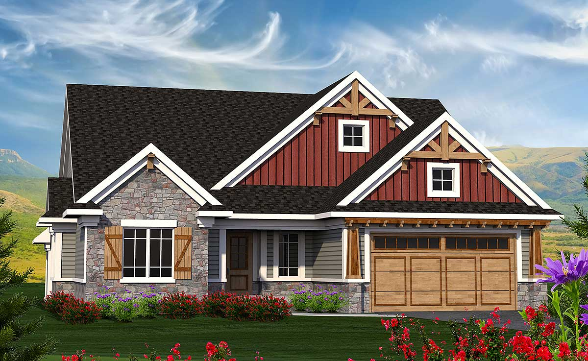 Bed Craftsman Ranch Angled Kitchen Architectural Designs House Plans